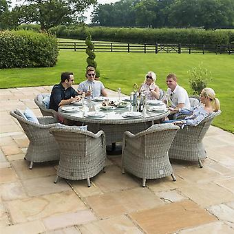 Maze Rattan Oxford 8 Seat Round Rattan Dining Set with Ice Bucket