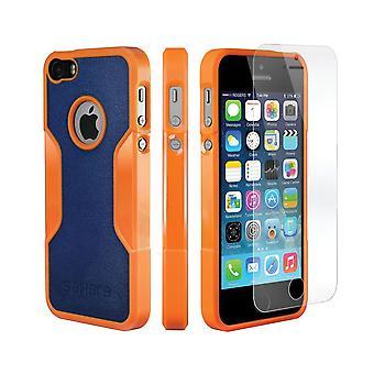 SaharaCase® iPhone SE/5s/5 Orange Blue Case, Classic Protective Kit Bundle with ZeroDamage® Tempered Glass