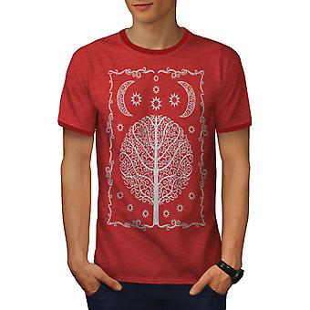 Ornament Life Tree Men Heather Red / RedRinger T-shirt | Wellcoda