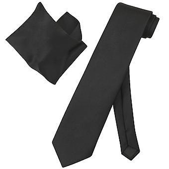 Vesuvio Napoli solidt ekstra lange slips lommetørklæde Herre hals Tie sæt