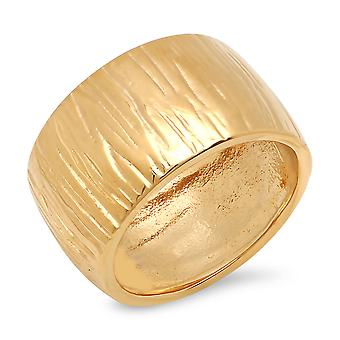 Ladies 18K gull belagt stål Stripe hamret Band Ring