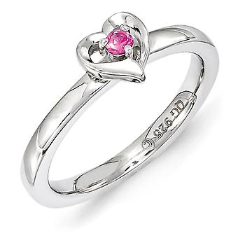 2.25mm Sterling Silver Stackable Expressions Created Pink Sapphire Heart Ring - Ring Size: 5 to 10