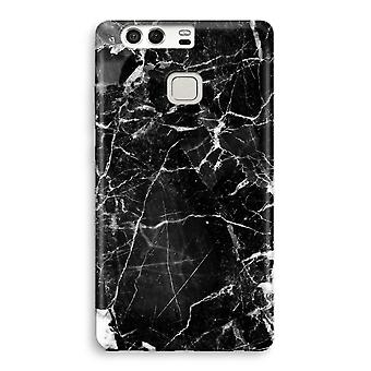 Huawei P9 fuld Print sag - sort marmor 2