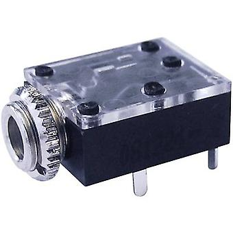 3.5 mm audio jack Socket, horizontal mount Number of pins: 3 Stereo Black Cliff FT6320 1 pc(s)