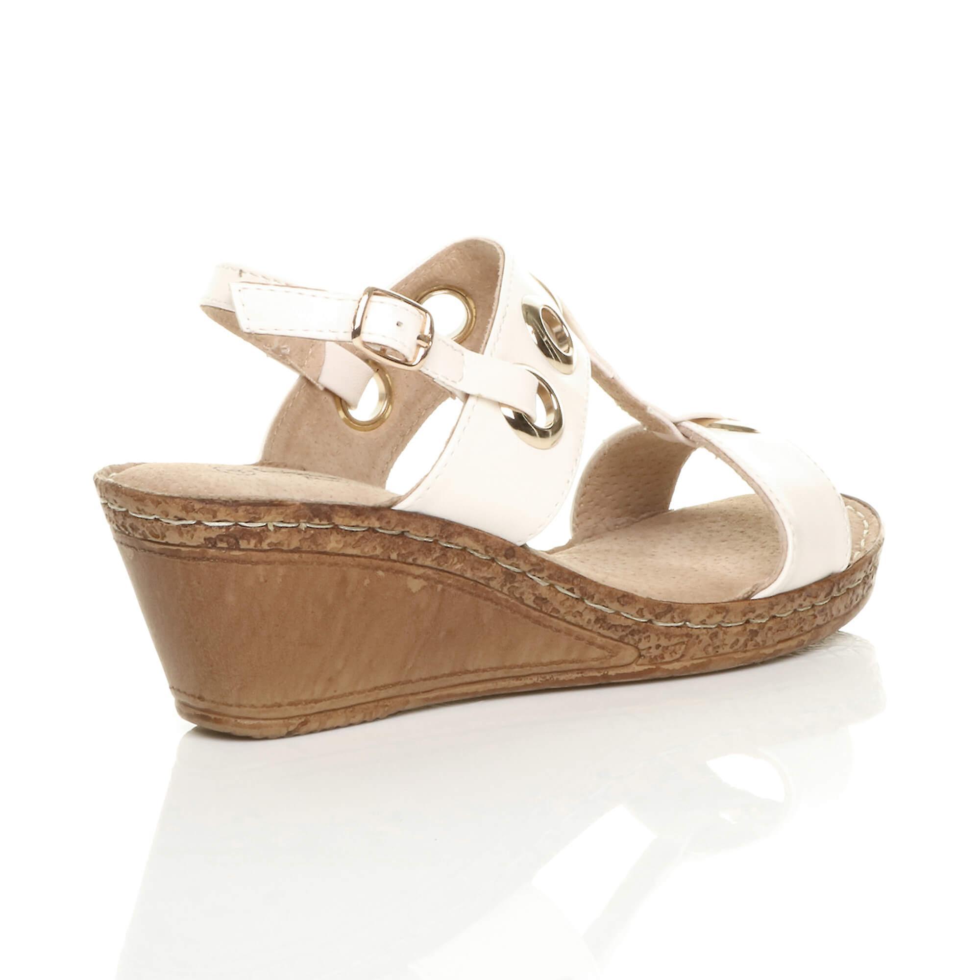 platform womens bar heel wedge sandals Ajvani slingback comfort mid t 4A0xqwUq