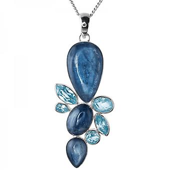 Ladies Shipton And Co Silver And Three Kyanite Cabochons And Blue Topaz Pendant Including A Chain TMO002KYBT