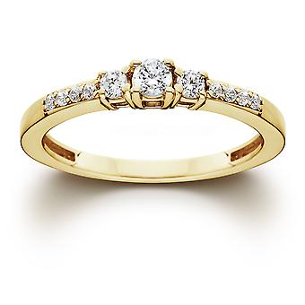 1/2ct Diamond Three Stone Ring 14K Yellow Gold