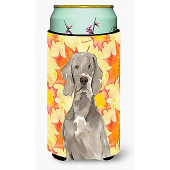 Fall Leaves Weimaraner Tall Boy Beverage Insulator Hugger