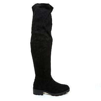 LEXI Black Stretch Faux Suede Long Knee High Chunky Cleated Sole Boots