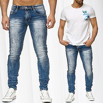 Men's Jeans Pants Tapered Stone Washed Denim Used Destroyed