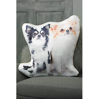 Adorable Long Haired Chihuahua Shaped Cushion