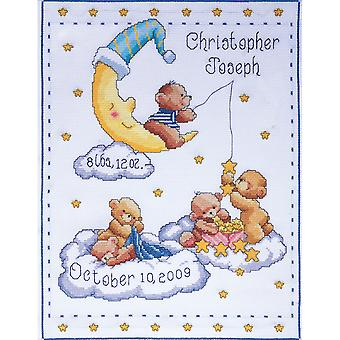 Bears In Clouds Birth Record Counted Cross Stitch Kit-11