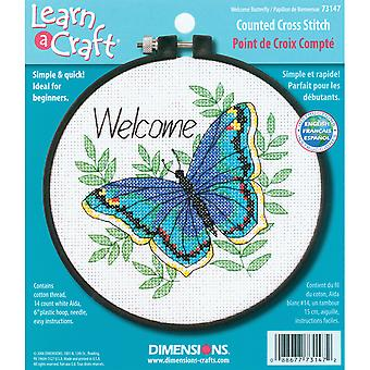 Leren-A-Craft Welkom Butterfly geteld Cross Stitch Kit-6