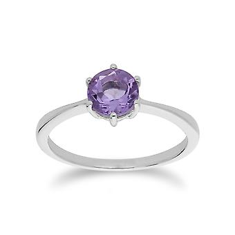 Gemondo Sterling Silver Amethyst February Round Ring