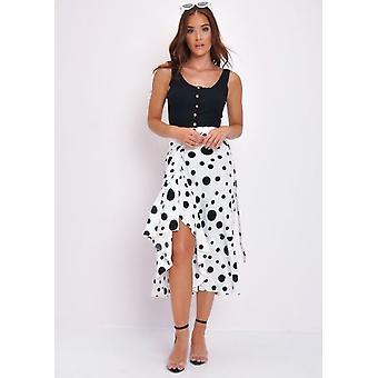 Polka Dot Wrap Increspature Midi Skirt White