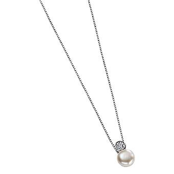 Elements Silver Cubic Zirconia and Pearl Drop Pendant - Silver/White
