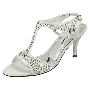 Ladies Anne Michelle Open Toe Kitten Heel Studded Sandal L3303 - Silver Satin - UK Size 6 - EU Size 39 - US Size 8