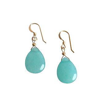 Gemshine - Damen - Ohrringe - Jade - Blau - Vergoldet - 2,5 cm