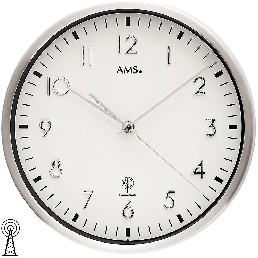 Boîcravater métallique mural radio-réveil horloge de verre minéral en aluminium brossé