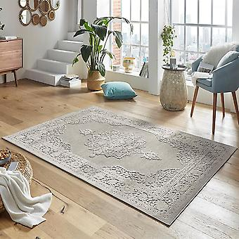 Design viscose rug willow in relief appearance grey