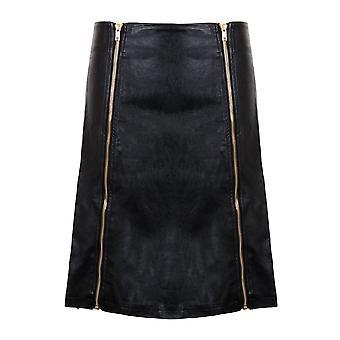 Ladies Double Zip A Line Bodycon Pencil Faux PU Leather PVC Smart Party Skirt