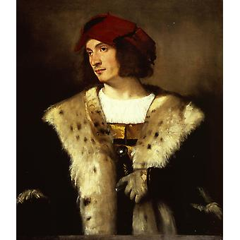 Portrait of a man in a red cap,Titian,60x50cm