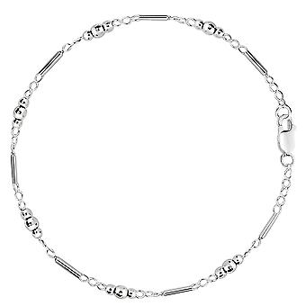 Fancy Link With Faceted Beads Chain Anklet In Sterling Silver