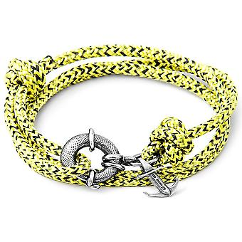 Anchor and Crew Clyde Silver and Rope Bracelet - Yellow Noir