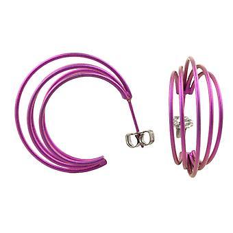 Ti2 Titanium grote draad hoepel oorbellen - Candy roze