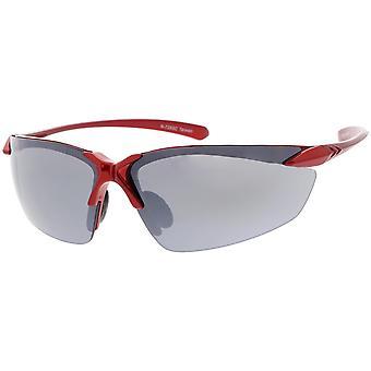 Semi Rimless TR-90 Sports Wrap Sunglasses Slim Arms Smoke Lens 77mm