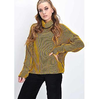 Oversized Ribbed Stripe Knit Jumper Mustard Yellow
