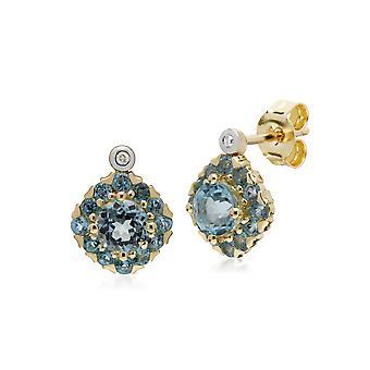 Gemondo 9ct Yellow Gold Round Blue Topaz & Diamond Square Cluster Stud Earrings