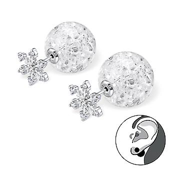 Snowflake With Cracked Ball - 925 Sterling Silver Ear Jackets & Double Earrings - W29334x