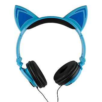 LED kattöron headphones-Blue and Black