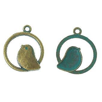 Pakke 10 x antik Bronze/turkis tibetanske 25mm fugl charme/vedhæng ZX05260