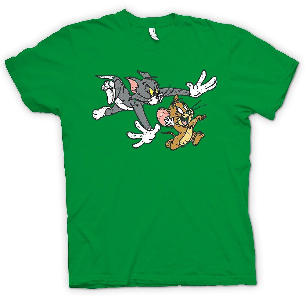 Heren T-shirt - Tom en Jerry - Retro Cartoon klassieke vrouwen