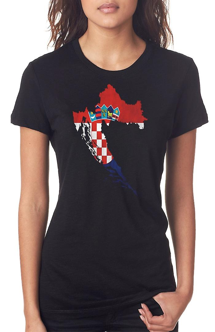 Croatia Croatian Flag Map Ladies T Shirt
