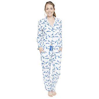 Cyberjammies 4054 Women's Amelia White Feather Print Pyjama Top