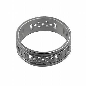 Zilver 6mm doorboord Keltische trouwring grootte Q