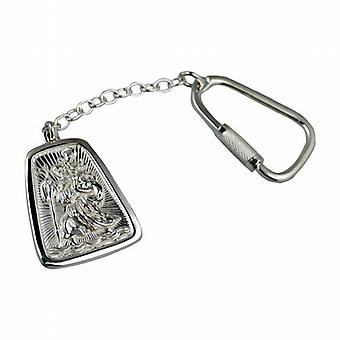 Silver 31x25mm St Christopher Keyring