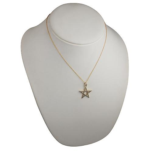 9ct Gold 26mm plain Pentangle Pendant with a cable Chain 18 inches