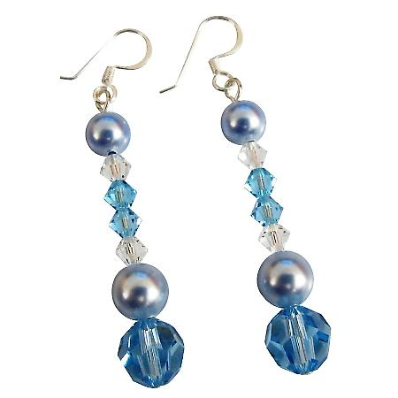 Swarovski Blue Aquamarine Clear Combo Crystals Prom Earrings