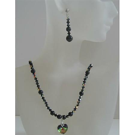 Swarovski Mystic Pearls & AB Jet Crystals Handmade Custom Jewelry Set