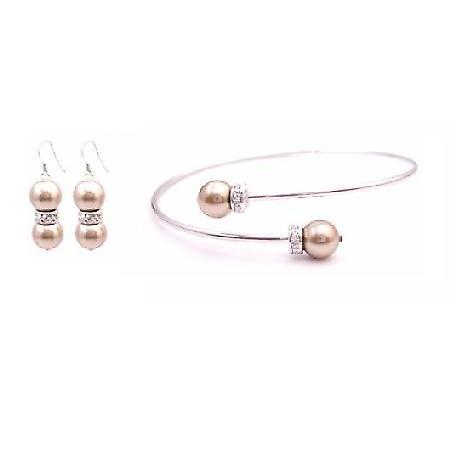 Prom Handmade Cuff Bracelet Swarovski Bronze Pearl Bracelet & Earrings