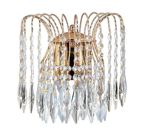 Or Plated Wall Bracket Complete With Crystal - Searchlumière 5172-2