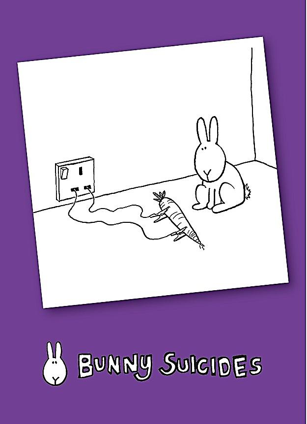 Bunny Suicides Death By Carrot funny fridge magnet  (hb)