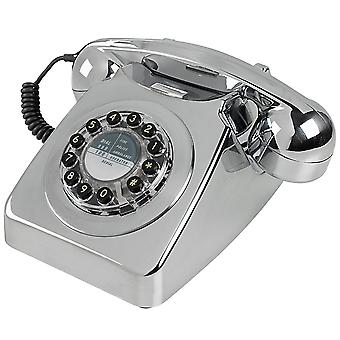 Wild & Wolf 746 Retro Push Button Chrome Brushed Telephone