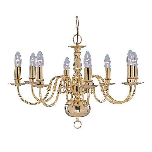 Searchlight 1019-8PB Flemish 8 Light Traditional Polished Brass Chain Pendant