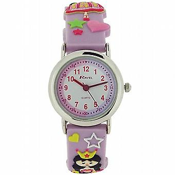 Ravel Time Teacher 3D Princess Design Lilac Rubber Strap Girls Watch R1513.37