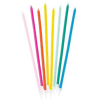 Birthday Brights Rainbow TALL Candles x 16  Cake Decoration